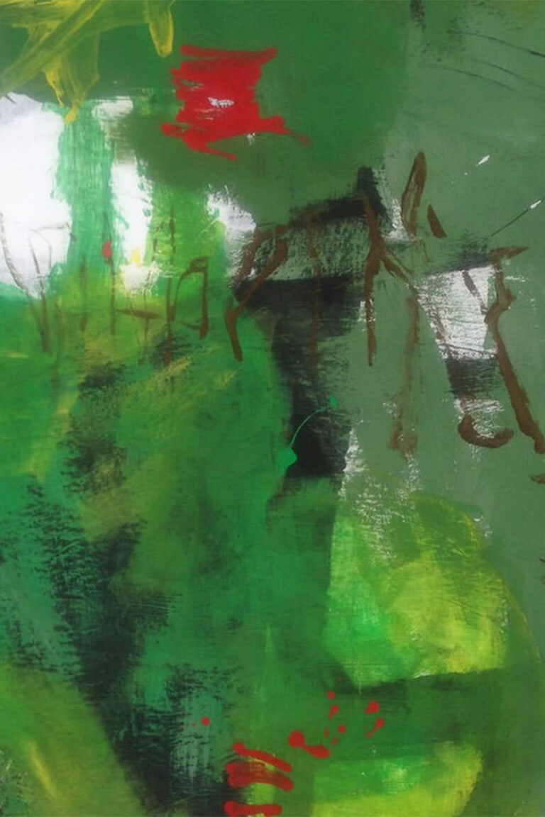 Abstrakte Malerei mit sehr viel Grün ein kleinen knallroten Einsprengseln